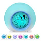 HAMSWAN Kids Clocks, Digital Alarm Clock, Wake Up Light Alarm Clock, Sleep Timer, 7 Colors Changing 8 Ringtones One Tap Control with Temperature Display for Kids, Children, Worker, Students (Blue)