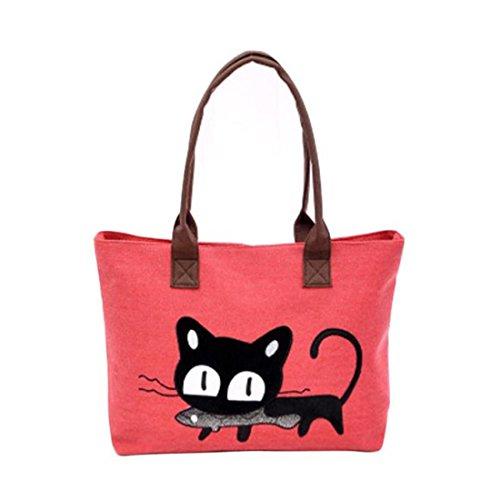 à à pour toile bandoulière bureau mignon pour Sac le femme en Red unique Sac déjeuner chat kaki sac avec Taille dBw6qqI
