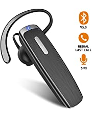 Bluetooth Earpiece for Cell Phone Hands Free Bluetooth Headset with Mic 22Hrs Talktime Earpiece Compatible with iPhone Samsung Android Mobile Phones, Driver Trucker (Black)