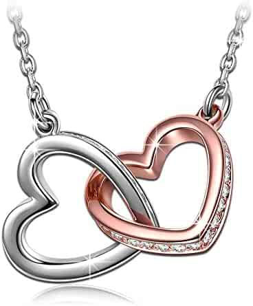 QIANSE ♥My Destiny♥ White Gold Plated Heart Necklace with Swarovski Crystals 19