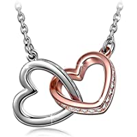 "QIANSE ♥My Destiny♥ White Gold Plated Heart Necklace with Swarovski Crystals 19"", Hypoallergenic Necklace Gift Packing - Gifts for Valentine's Day!"