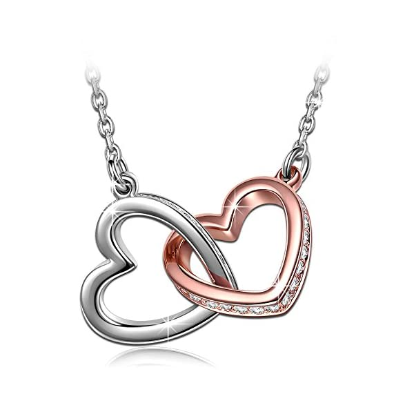 QIANSE-My-Destiny-White-Gold-Plated-Heart-Necklace-with-Swarovski-Crystals-19-Hypoallergenic-Necklace-Gift-Packing-Gifts-for-Birthday-Mothers-Day