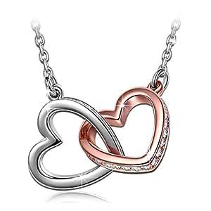 """QIANSE """"My Destiny"""" Double Heart Two Tone Necklace, Swarovski Crystals Jewelry for Women, Birthday Gifts for Women Anniversary Gifts for Her Gifts for Girlfriend Gifts for Wife Gifts for Mom Daughter"""