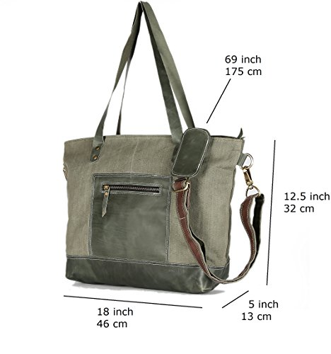 Handbag 100 Ladies Women's Bag Canvas Leather Geniune Shopping Light Decorlives Shoulder grey Tote Lightweight Purse and AwqBO