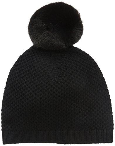 badgley-mischka-womens-honeycomb-knit-beanie-with-faux-chinchilla-pom-black-one-size