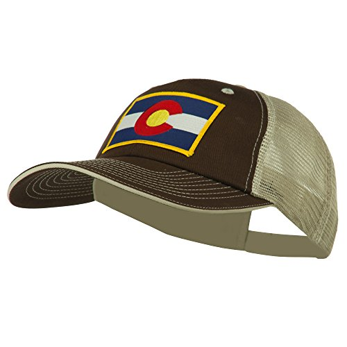 Colorado Western State Patched Big Washed Mesh Cap - Brown Beige OSFM
