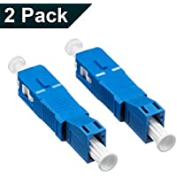 2-Pack Single Mode 9/125um SC/UPC Male to LC/UPC Female Hybrid Optical Fiber Adapter Connector for Optical Power Meter