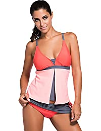 Chase Secret Womens Summer Colorblock Tankini Top and...