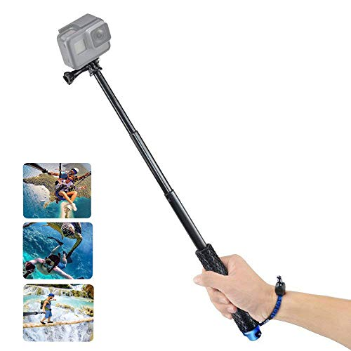 VVHOOY Waterproof Selfie Stick Extendable 11.25-37 inch Handheld Aluminum Telescopic Pole Monopod Compatible with Gopro Hero 7 6 5,AKASO EK7000,Brave 4,V50,Crosstour,Campark ACT74 Action Camera