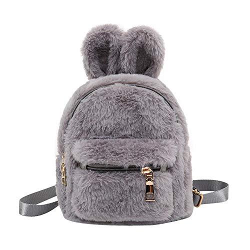 Diamondo Faux Fur Mini Rabbit Ears Backpacks Kids Girls School Shoulder Bags (Grey) -