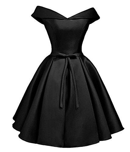 Drehouse Hors De L'épaule Robes De Mariée En Satin Noir Robe Courte Demoiselle D'honneur