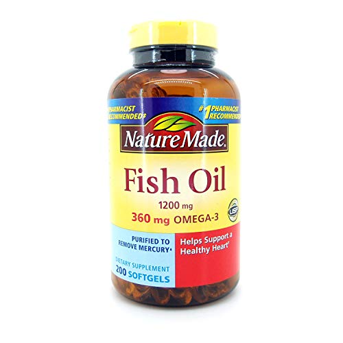 Nature Made Fish Oil 1200 Mg (360 Mg Omega-3) 200 Liquid Softgels (Best Value Fish Oil)