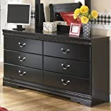 Ashley Furniture Signature Design - Huey Vineyard Dresser - 6 Drawers - Vintage Casual Louis Philippe Styling- Black