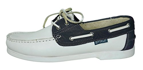 Beverly Originals-zapatos náuticos para hombre Casual-Mens Colour weiß/navyblau/silber
