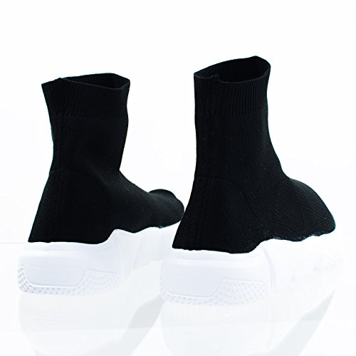 High Top Ribbad Virka Stretch Sticka Socka Gymnastiksko W Vit Mellansula 12 Svart