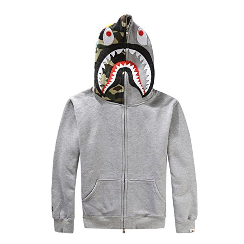 Head Zip Hoodie - Griffith Nancy New Bathing Ape Bape Jacket Men Shark Head Full Zip Hoodie Sweater Jacket (Gray, S)