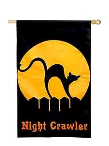 "Night Crawler Halloween House Flag Black Cat Applique 28"" x 44"""
