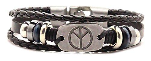 - Fusamk Punk Rock Alloy Peace Bead Buckle Cuff Bracelet Bangle with Leather