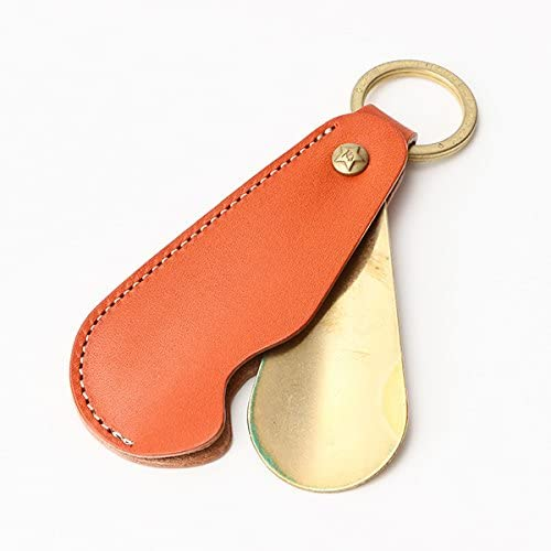 名入れ無料 彫刻 携帯靴べら 牛革 シューホーン タイプ1 ブォーノアニリン オレンジ