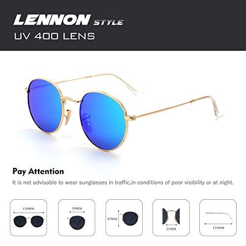 CGID E01 lunettes de soleil polarisées inspirées du style retro vintage Lennon en cercle métallique rond 7 Or Vert