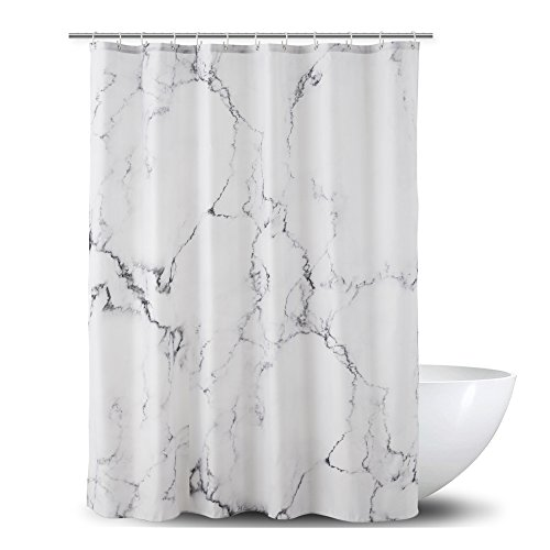 Marble Shower Curtain for Bathroom, Black White Marble Polyester Fabric Shower Curtain with Hooks 72 X 72 Inches