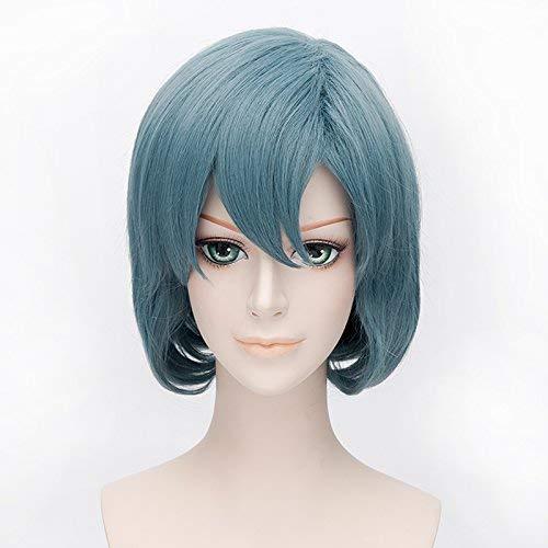 Plusker 30cm Women Short Straight Hazy Blue Bob Wig Sailor Mizuno Ami Mercury Anime Cosplay Synthetic Costume Hair Wigs (Sailor Mercury Computer)