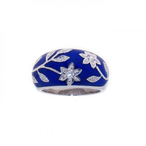 (Clear Cubic Zirconia Blue Enamel Flower Ring Rhodium Plated Sterling Silver Size 7)