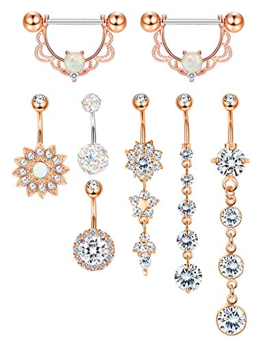ORAZIO 8-13PCS 14G Stainless Steel Nipplerings Nipple Tongue Belly Button Rings CZ Opal Barbell Body Piercing Jewelry