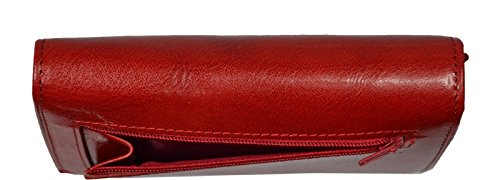 Schöne praktische Leder Rote Damengeldbörse aus Leder E030 Rossa FfyNWxVy