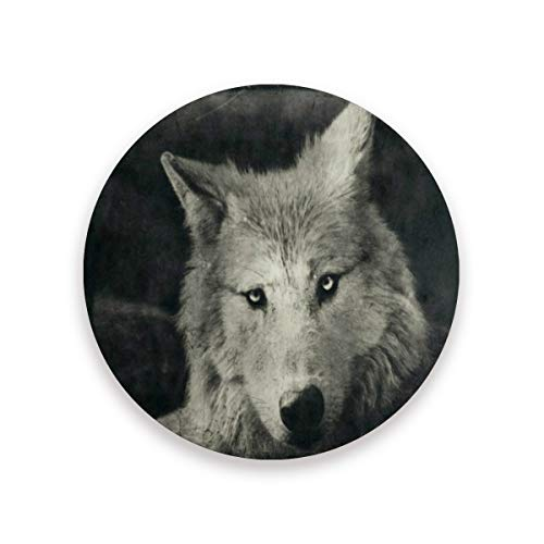 Coasters for Drinks,Halloween Night Wolf Ceramic Round Cork Trivet Heat Resistant Hot Pads Table Cup Mat Coaster-Set of 4 Pieces