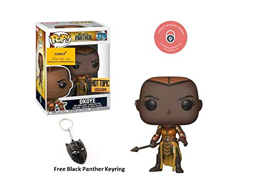 LESHCO Black Panther Pop Vinyl Okoye #275 With Black Panther Keyring Hottopic Exclusive 2018/19 Edition ()