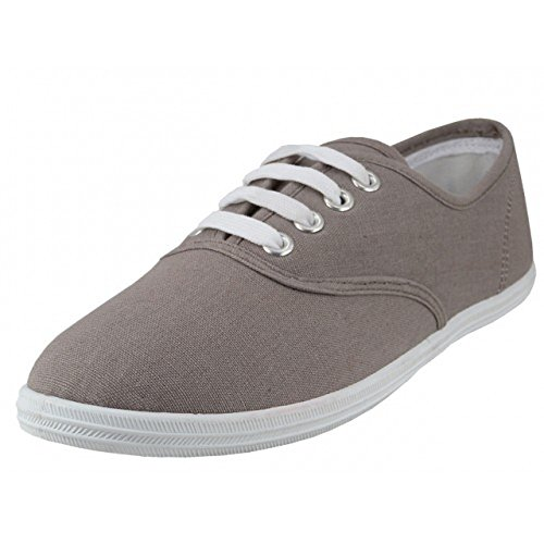 Easy USA - Womens Canvas Lace Up Shoe with Padded Insole Grey Size 11 bcXz45s