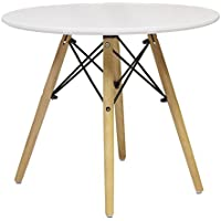 Eames Style End Table, White Top, Wooden Dowel Legs