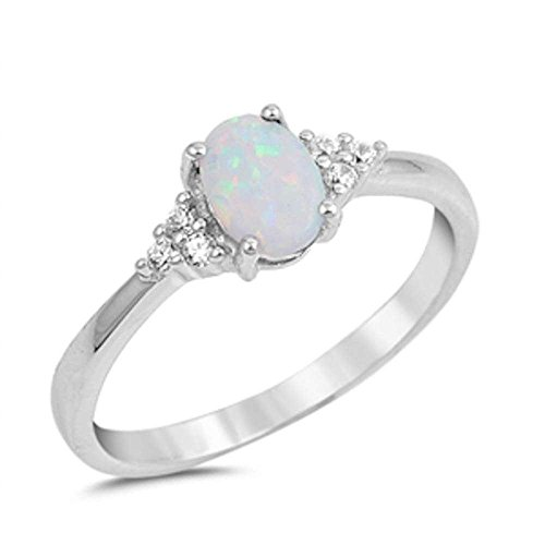 Oval Lab Created White Opal & Round Cubic Zirconia .925 Sterling Silver Ring Size 5