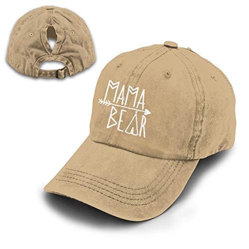 OASCUVER Mama Bear Denim Hat Adjustable Female Stretch Baseball Hats (Ponytail Natural, One Size)