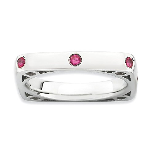 925 Sterling Silver Created Red Ruby Square Band Ring Size 9.00 Stone Stackable Gemstone Birthstone July Fine Jewelry Gifts For Women For Her