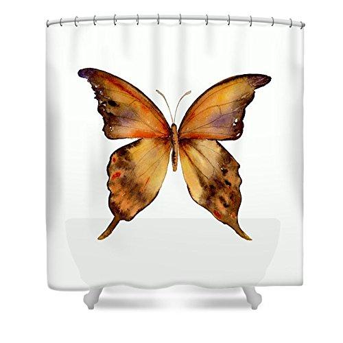 Pixels Shower Curtain (74'' x 71'') ''7 Yellow Gorgon Butterfly''