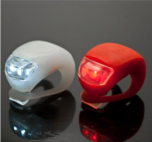 LED Concepts 2-pack of RED and WHITE Silicone LED Waterproof FRONT and REAR Bicycle Light set