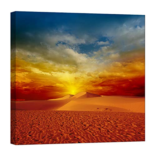 (LightFairy Wall Art for Living Room - Glow in The Dark Canvas Painting - Stretched and Framed Giclee Print - Dunes Sand Desert Nature Landscapes - Wall Decorations for Bedroom)