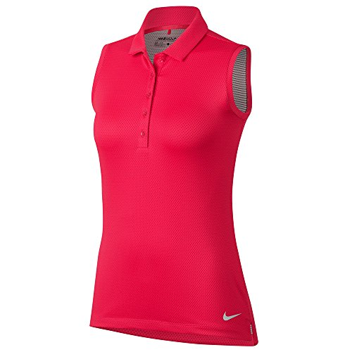 Nike Women's Dri-Fit Textured Sleeveless Golf Polo-Light Fusion Red-XS