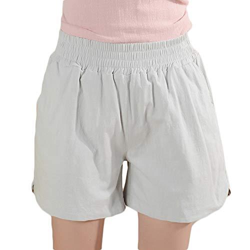 Lino Di Elastic Pantaloncini Tessuto Dei Da Con A Pantaloni Gamba Larga Cintura Grigio Donna YpdtqIxwq
