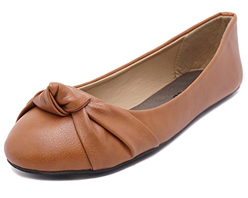 Charles Albert Women's Knotted Front Loafer Leather Round Toe Ballet Flats (7, Chestnut (Brown Leather Bow)