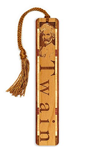 Author - Mark Twain Engraved Wooden Bookmark with Tassel