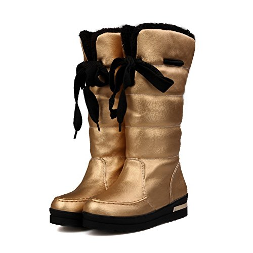 AmoonyFashion Womens Round Closed Toe Low heels Solid PU Boots with Bandage Gold CtdEkycDu
