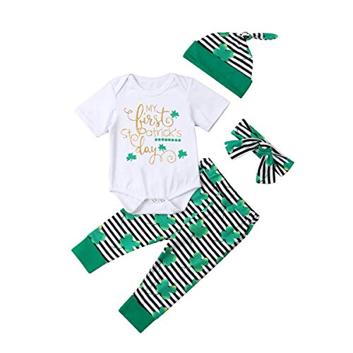 DFSanaShanao 4Pcs Newborn Baby St. Patrick's Day Lucky Romper Pants Hat Headband Pant Sets for Infant Girl Boy Cotton Outfits (Green-A, 0-6M) -