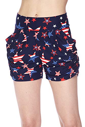 Bellarize Women's Premium Ultra Soft Harem Shorts with Pockets - Multiple Styles (Star Shape American Flag, Large/X-Large)
