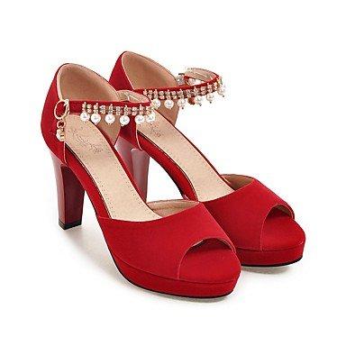 LvYuan Mujer-Tacón Robusto-Otro-Sandalias-Oficina y Trabajo Vestido Fiesta y Noche-Vellón PU-Negro Azul Rosa Rojo Beige Red