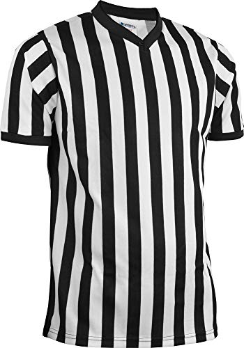 Style Jersey Pro Football - Sports Unlimited Men's Official Pro-Style V-Neck Adult Referee Jersey Officiating Shirt for Basketball, Football, Soccer