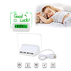 Alarm Clock With Usb Charger Home Décor , LED Digital Desk Shelf Clocks With Pen Port Hub Message Board , LCD Display Screen Time , Temperature , Calendar For Office , Living Room , Bedroom , Parlour