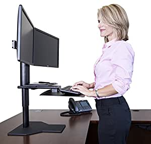 Uprite Ergo Sit2Stand Desktop Height Adjustable Workstation - Dual Monitor - Black/Black